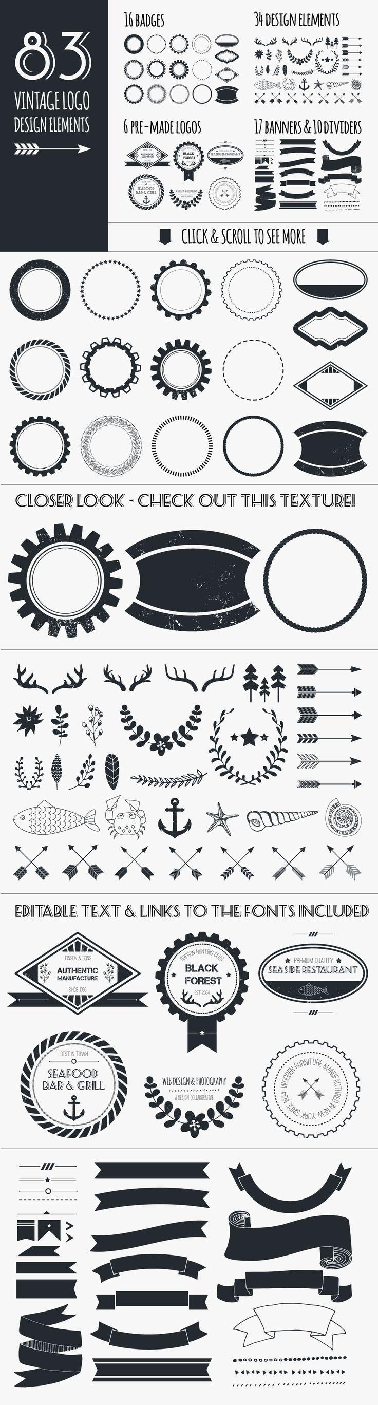Vintage Logo Elements Bundle by Favete Art on Creative Market