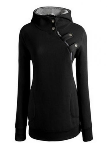 Stylish Promote the neckline rabbit wool cloth with soft nap is inclined zipper  TOPS (black,Gray) Hoodies from stylishplus.com