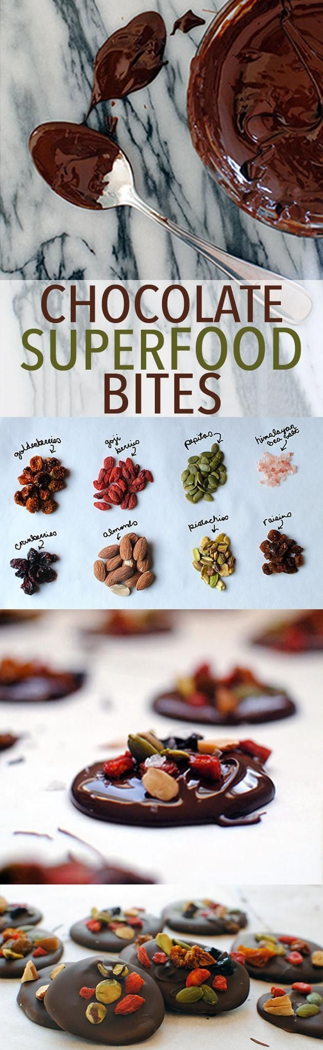 Chocolate Superfood Bites -- Sweet, super, and simple to make. // recipes // desserts // snacks // healthy // nuts // salty // almonds // pistachios // raisins // cranberries // goji berries // pumpkin seeds // goldenberries // holidays // treats // Beachbody // BeachbodyBlog.com