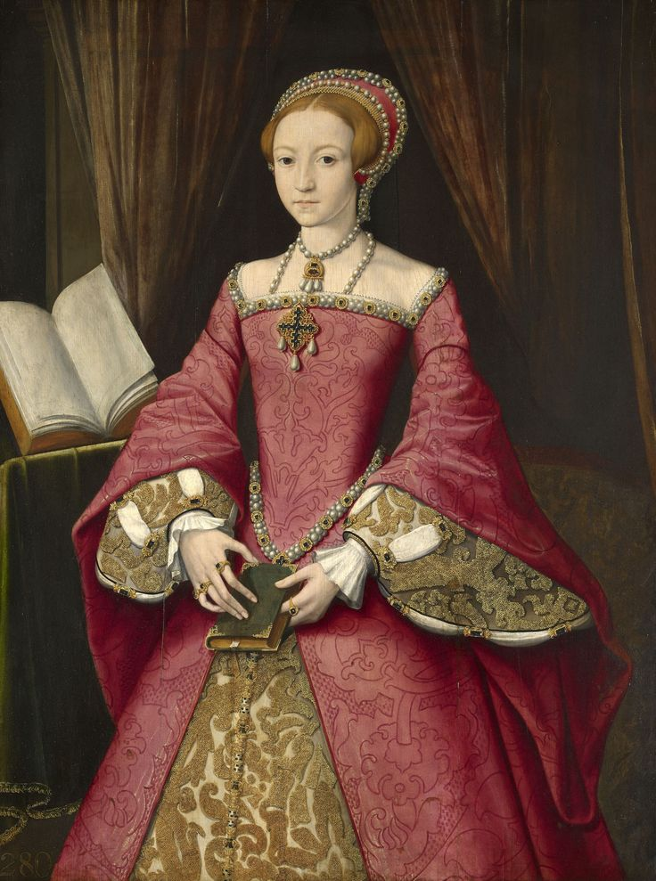 This painting is the finest and most compelling portrait of Elizabeth I before her accession. It conveys her beauty, dignity, gentleness and learning. 1546 / Attributed to William Scrots. Probably painted for Henry VIII.