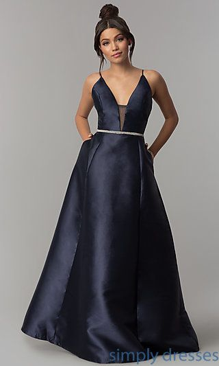 Shop long satin prom dresses with side pockets at Simply Dresses. Formal  deep-v-neck evening dresses under  100 with removable rhinestone belts. 578e93c0393a