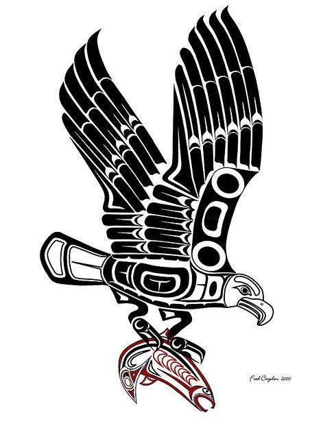 Haida eagle and salmon