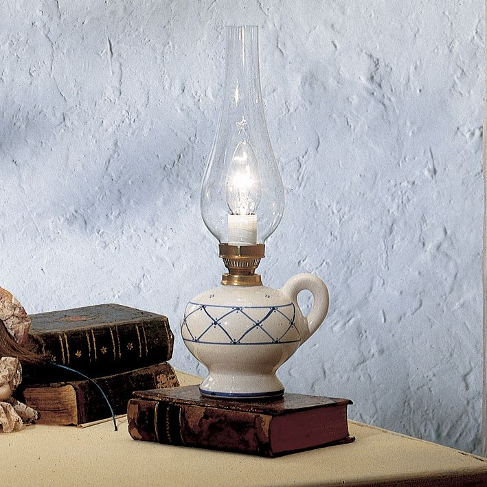 Elegant table lamp with glass lampshade and hand decorated ceramic support.