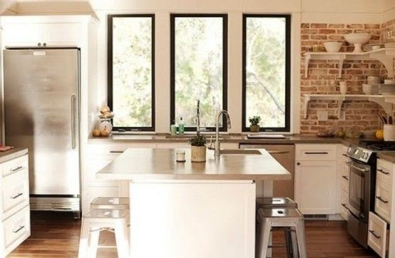 Brick and shiplap kitchen - love