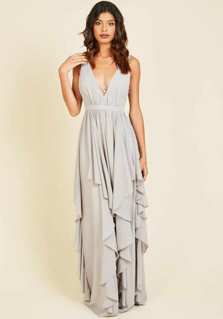 Stately Slow Dance Maxi Dress in Fog