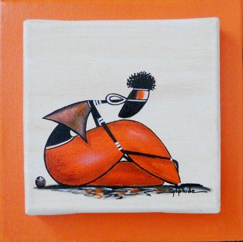 """Trois rastas sur toile 15x15 et collée sur toile 20x20 Ratassis brique Rastassis """"girafe"""" Rastaterre orange"""
