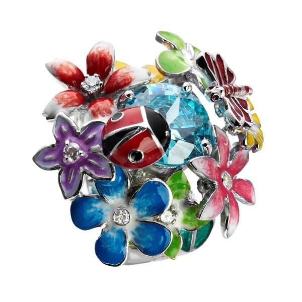 Flora sølv ring med blomster og zirkonia sten - Kranz & Ziegler