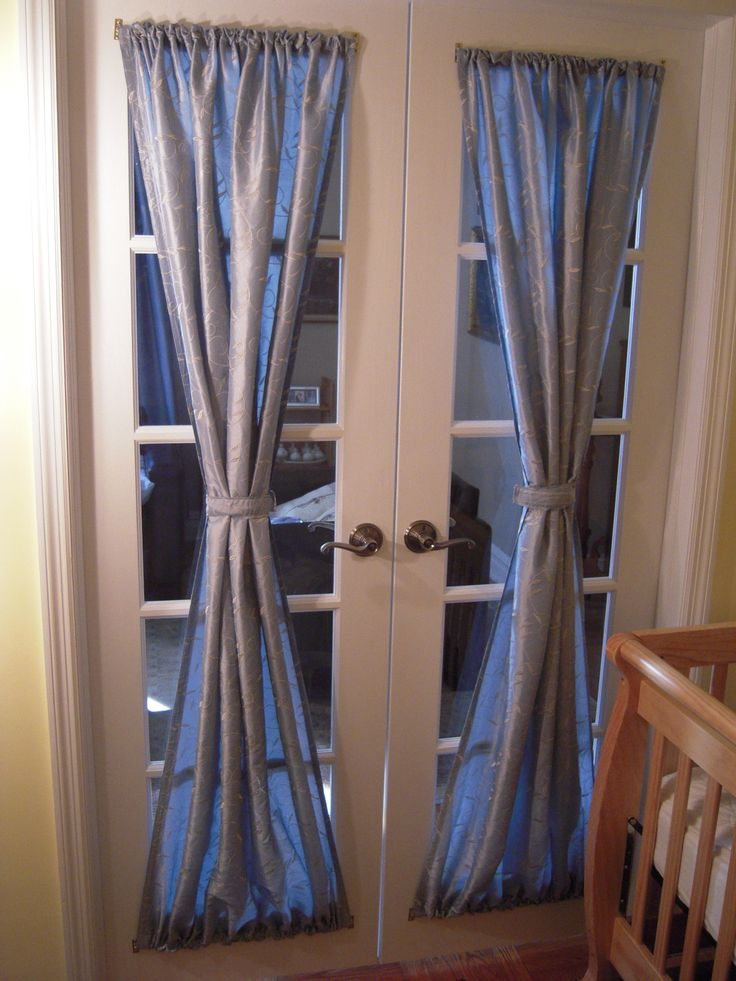 Exterior Interior Excellent Gray Fabric French Door Curtains With .