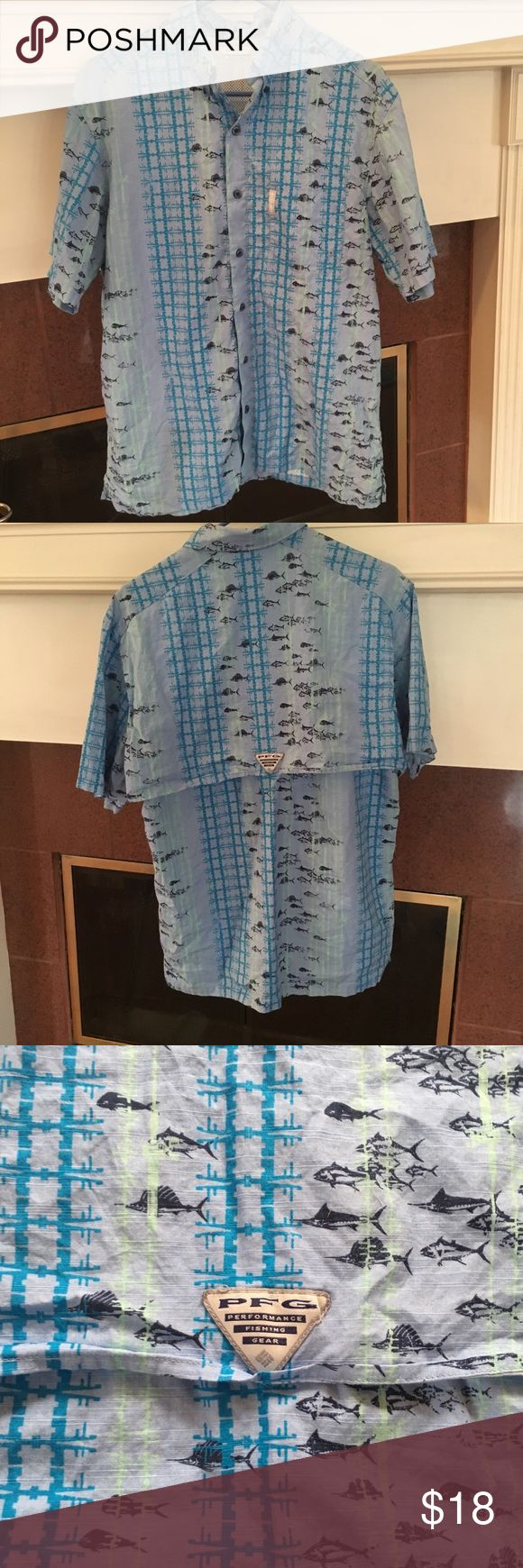 Columbia PFG Blue Vented Fishing Shirt Size Small Columbia PFG Blue Vented Fishing Shirt Size Small Columbia Shirts Casual Button Down Shirts