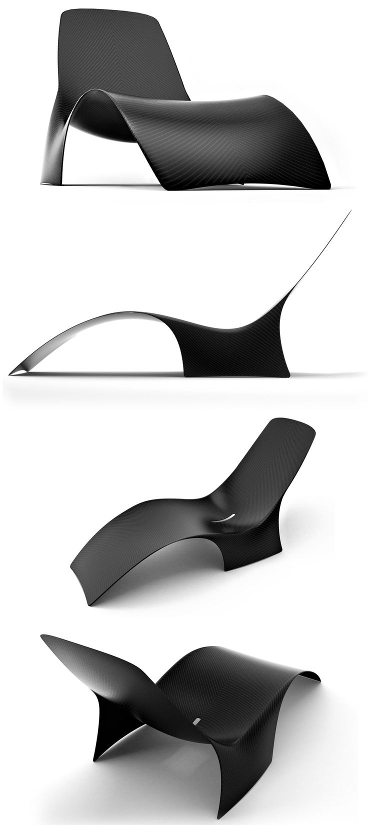 A 'Chaise Longue' is traditionally an upholstered sofa in the shape of a chair that is long enough to support the legs. This is MAST element's carbon fibre version. They teamed up with designer Johnny Hugnot to bring us their beautiful minimalistic version of a Chaise Longue titled 'Ray'.