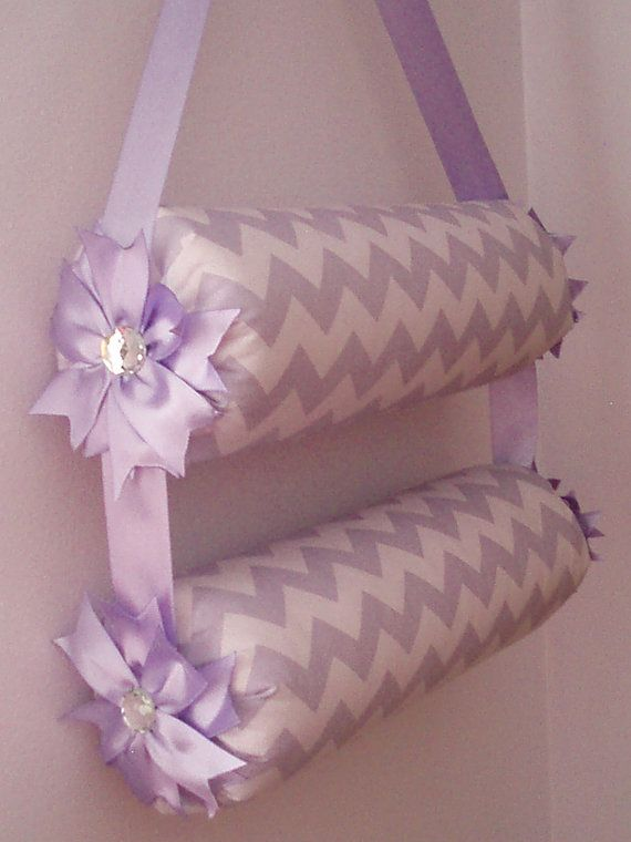 "Double 15"" Bolster Purple Chevron Headband Holder Organizer by Everlastings by Sue"