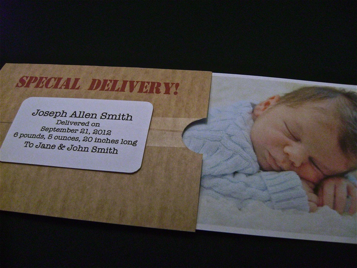 Custom SPECIAL DELIVERY Box Themed New Baby Announcement Card Set. $15.00, via Etsy.