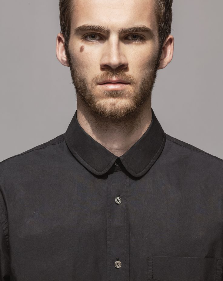High Count Poplin Club Collar Shirt (Black)
