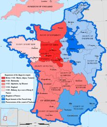 """Map of King Henry the second's II's continental holdings in 1154, forming part of the """"Angevin Empire"""""""