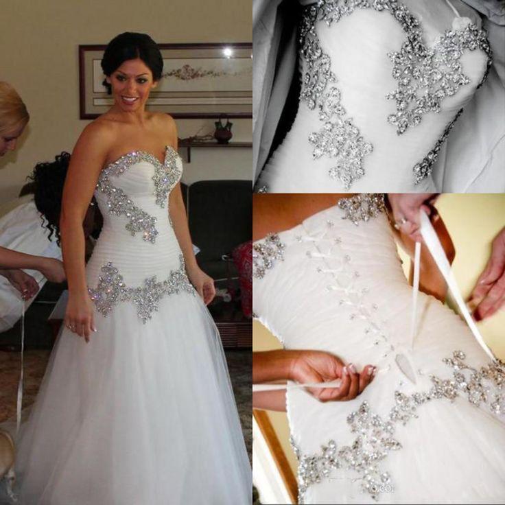 Blanco/marfil Baile Vestidos de novia sin tirantes con cuentas de Vestidos para Boda A medida Talla Grande
