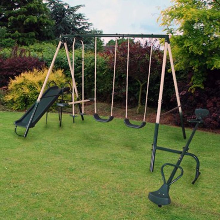 Swing Set Outdoor Toy Playset Slide Double Seat Garden Play Seesaw Steel Frame #Unbranded