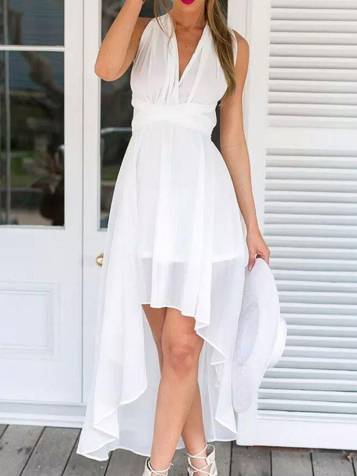 White Multi-wrap Tie Waist Dipped Hem Chiffon Maxi Dress