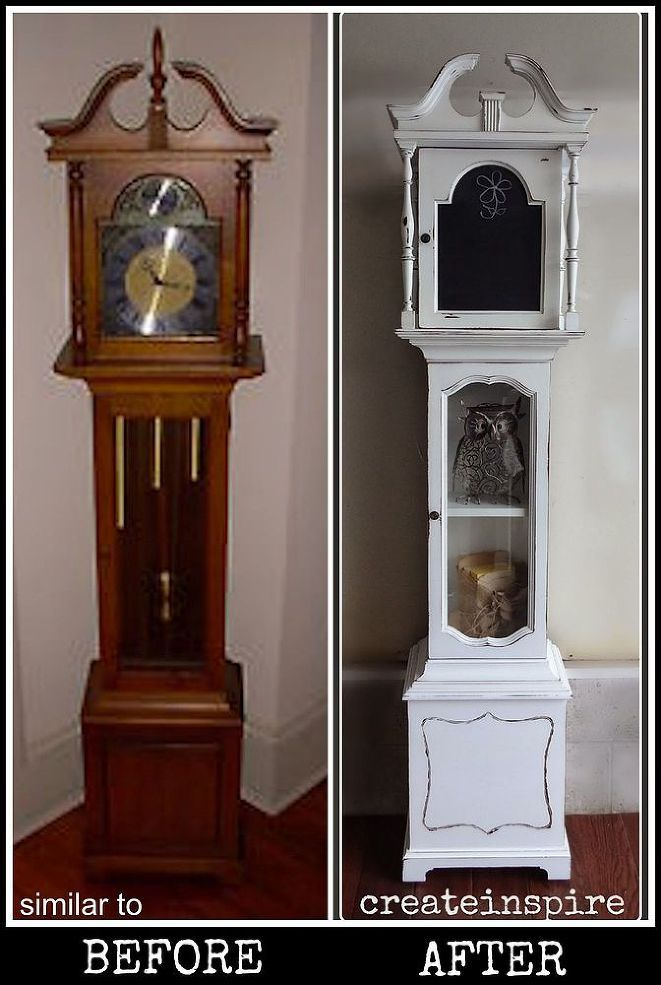 Repurpose a non-working grandfather clock. I would add a small working clock to where the normal clock face goes.