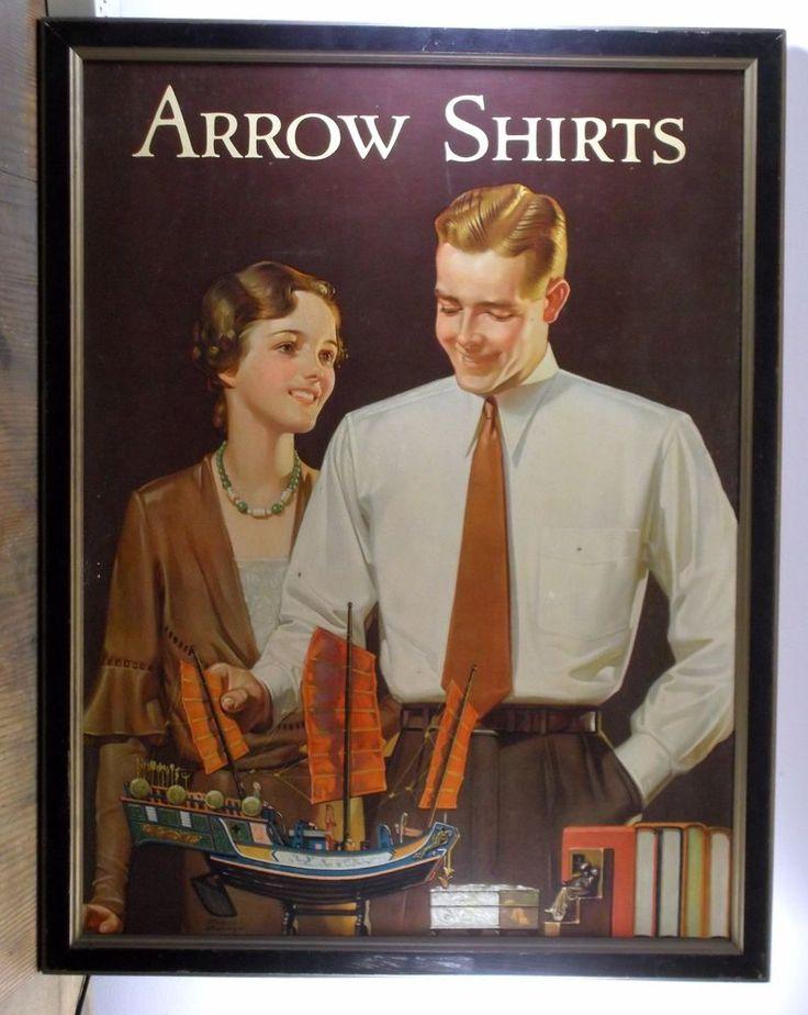 Original 1920 Large Arrow Shirts Framed Advertising Cardboard Poster #ArrowShirts