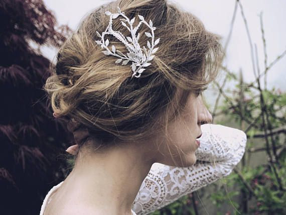 Romantic Bobbin Lace Wedding hair comb with Swarovski Crystal Elements. The Lace Head Piece can be worn multiple ways with multiple hair styles.    These wedding hair accessories are the perfect finishing touch for brides and bridesmaids ♥   comfortable to wear and easy to style. - Available in Silver as shown or Gold  - Everything is fabricated in Swansea studio by hand - Please allow 1 week for productions plus transit time for delivery - Sales on this item are final. No returns or…