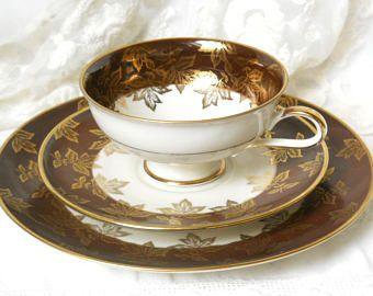 SALE -vintage teacup teacup trio german porcelain tea cups german teacup tan and gold gold tan teacup Winterling 12