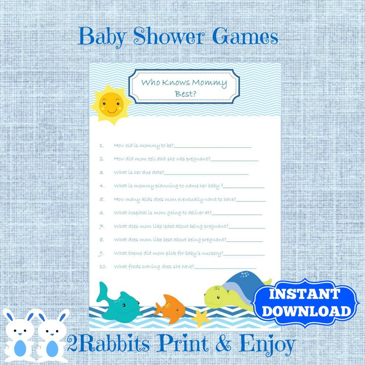 Organizing under the sea baby shower? Play this baby shower game, who knows mommy best ? Ask questions about mom to be!! Let see who knows the answers. #undertheseababyshower #whoknowsmommybest #babyshowergames #instantdownload #2rabbitsprintenjoy