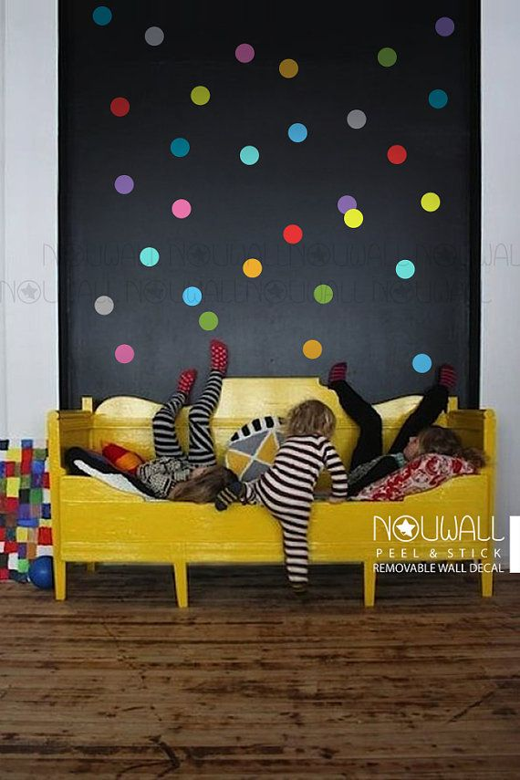Colorful Polka Dots Wall Decal - wallpaper- Removable Wall Sticker - suitable for baby, kids room, nursery