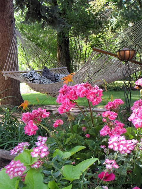 Landscape Ideas: Don't forget to make a beautiful place to relax...after all your hard work making the gardens look so good ♥️