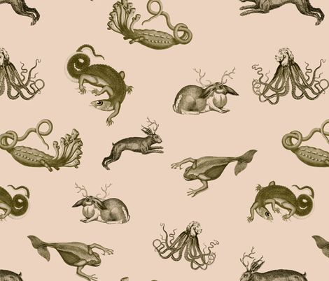 For pajamas or underwear  vintage_ephemera_zoo_pink fabric by ravynka on Spoonflower - custom fabric