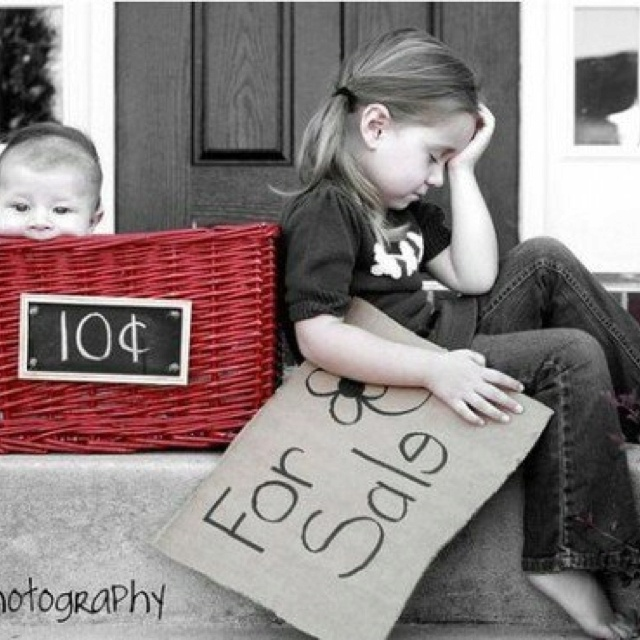 """Such a cute idea for sibling photos. Even better with the twins. We could write """"buy one get one free""""."""