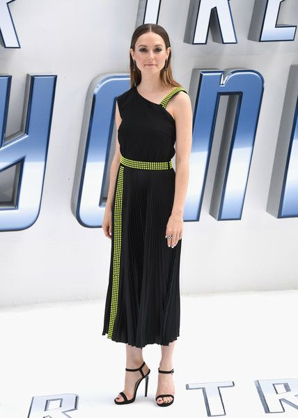 Lydia Wilson Cocktail Dress - Lydia Wilson went the modern route in an asymmetrical black dress with neon-yellow accents during the UK premiere of 'Star Trek Beyond.'