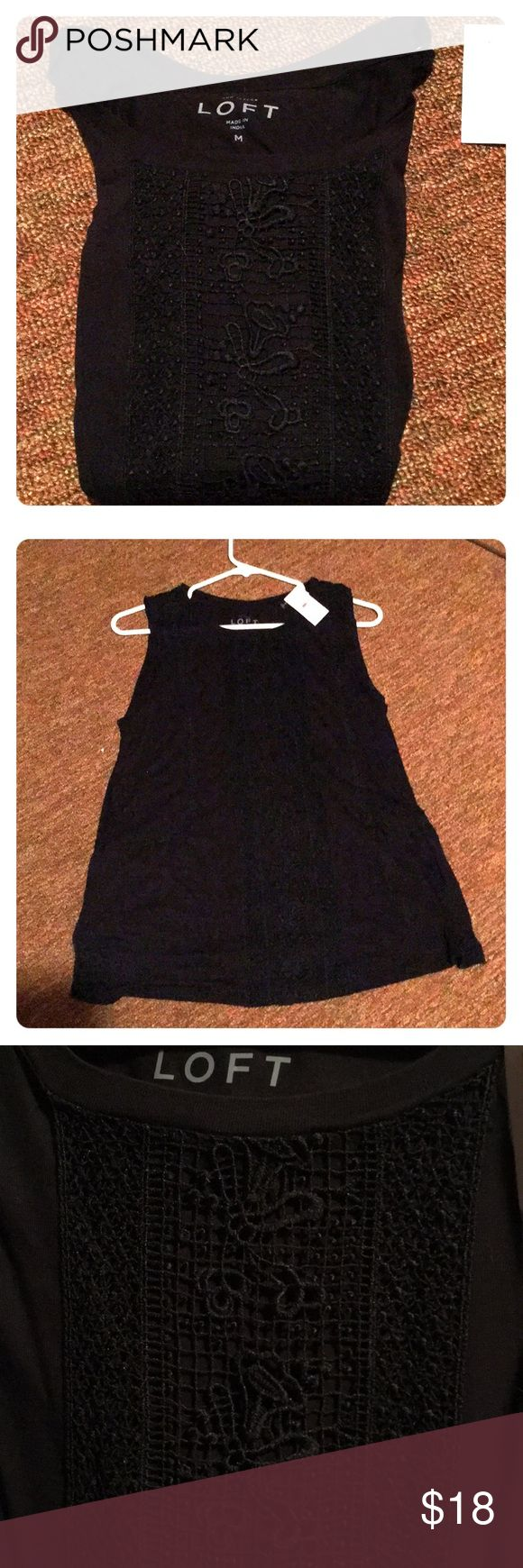 "NWT ""Ann Taylor"" LOFT Black Top, Size Medium Brand New With Tags, Authentic ""Ann Taylor"" LOFT Black sleeveless Top in Size Medium. Made of 100% Rayon. Comes from a smoke free room. Anne Taylor Loft Tops"