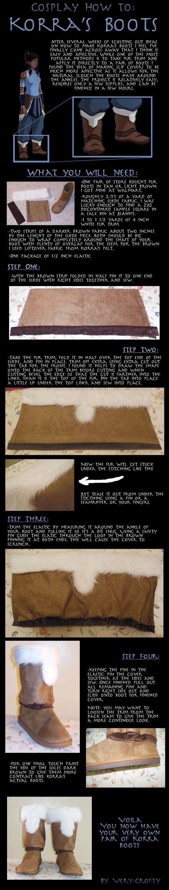 Simple easy way to make Korra's boots. Or good for winter elf boots too! ;)