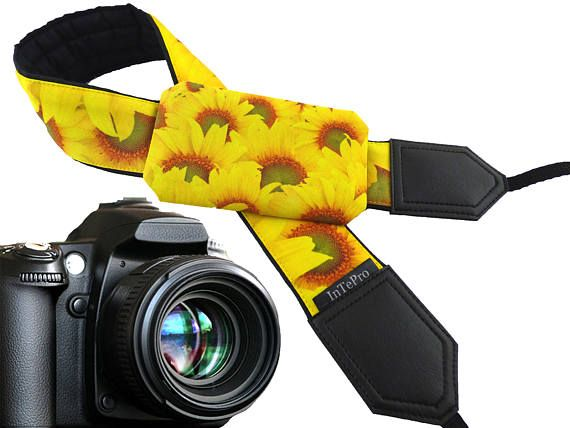 Sunflowers pocket camera strap. Flowers. Yellow and bright.