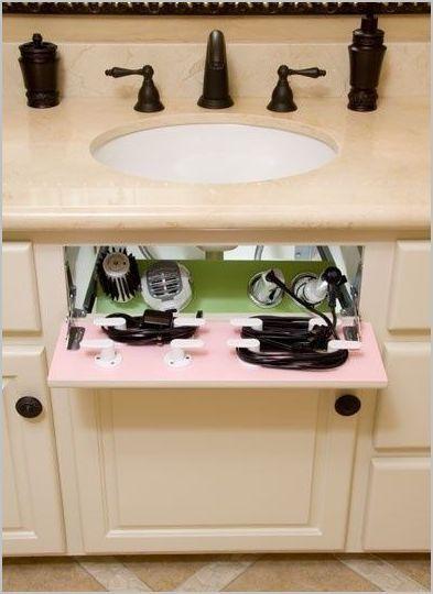 Hair dryer & straightener storage