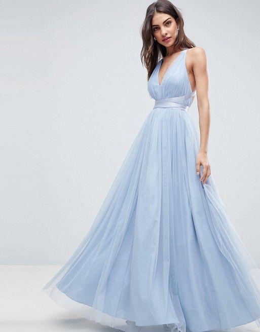 ff5e5c9214 DESIGN Premium tulle maxi prom dress with ribbon ties in 2019 ...