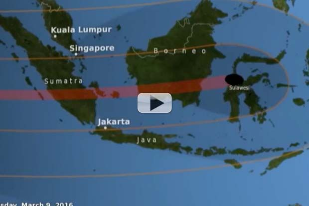 Always wanted to go to Sumatra, Borneo, Sulawesi, New Guinea? Get there by March 9th (local time) to watch the moon pass directly in from of the Sun, casting a deep twilight across the blue Pacific skies.