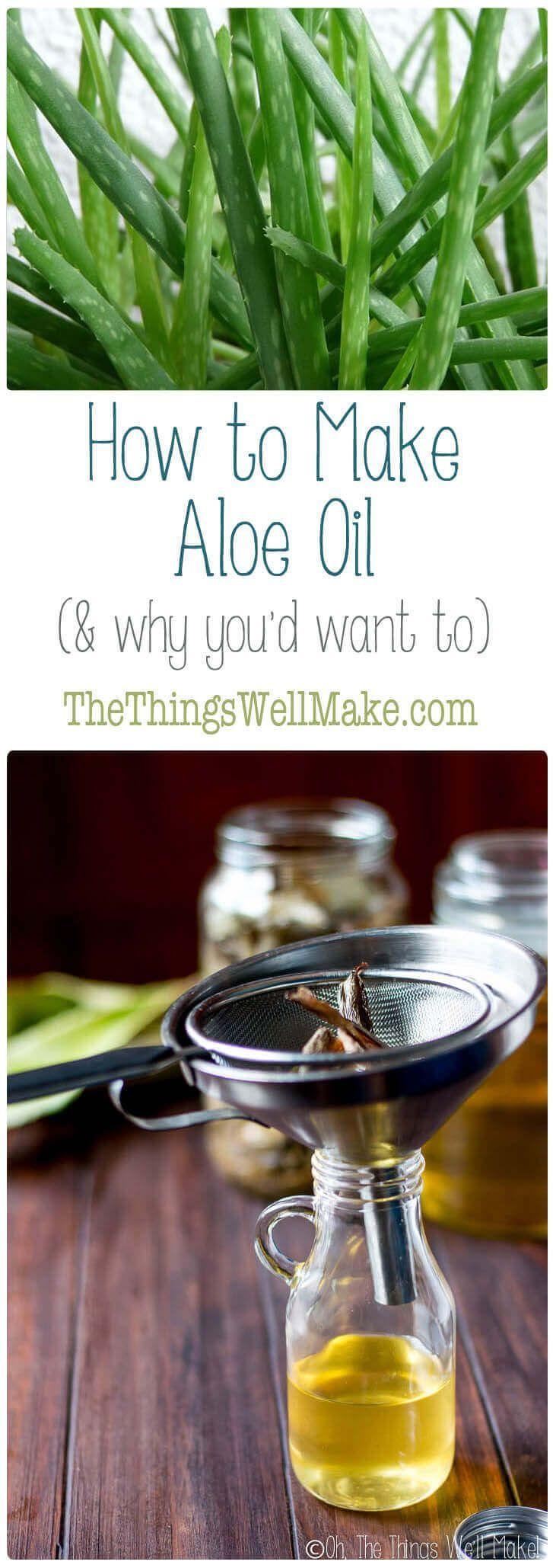 Aloe oil has numerous benefits for skin and hair, and can be used in a number of ways. Learn how to make aloe oil, why you would want to, and how to use it. #aloevera #aloeoil #aloe