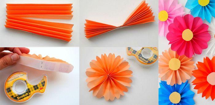 Flores De Papel Muy Faciles Plegadas Diy Origami Y Manualidades