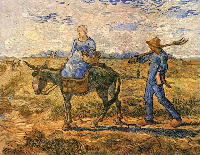 Ζευγάρι αγροτών στο δρόμο για δουλειά - 1890 (από έργο του Ζαν Φρανσουά Μιλέ)