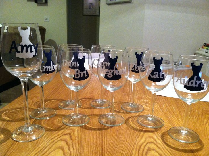 Personalized Wine Glasses For The Bridal Party Vinyl Cut