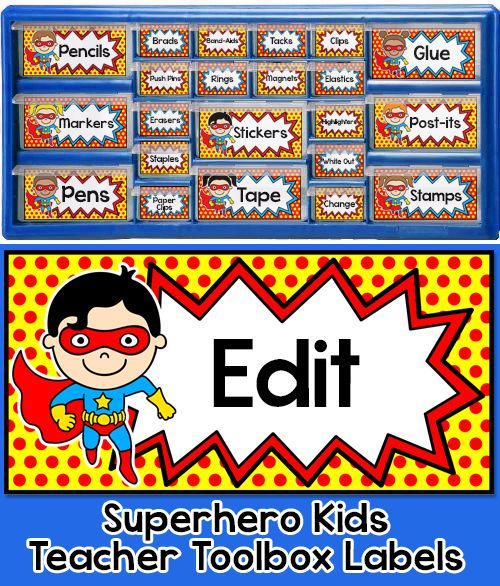 "Create a SUPER teacher toolbox with these fun Superhero Kids theme editable labels. These labels are designed to fit the ""Stack-on"" 22 drawer and 39 drawer organizers from Lowe's. By Pink Cat Studio"