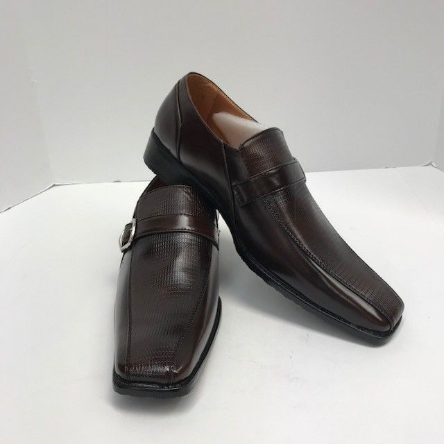 491d8bf9bd467 Salvanni Men's Brown Dress Shoes Loafer with Silver Buckle US Sizes ...