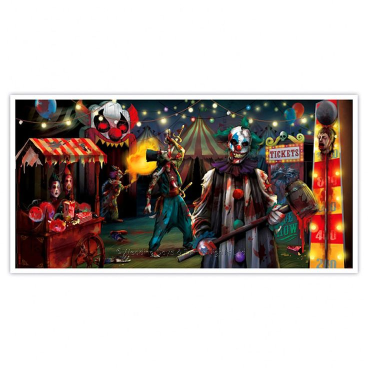 "Giant 5ft long 'Creepy Carnival Circus' Halloween horror scene setter / wall banner. Suitable for indoor or outdoor use. Size: 1.65m x 85cm / 64"" x 33"". 