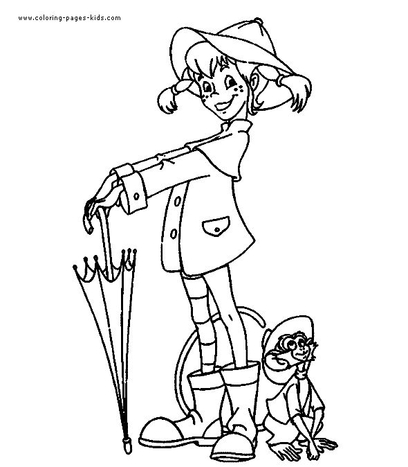 Pippi Longstocking color page cartoon characters coloring pages, color plate, coloring sheet,printable coloring picture