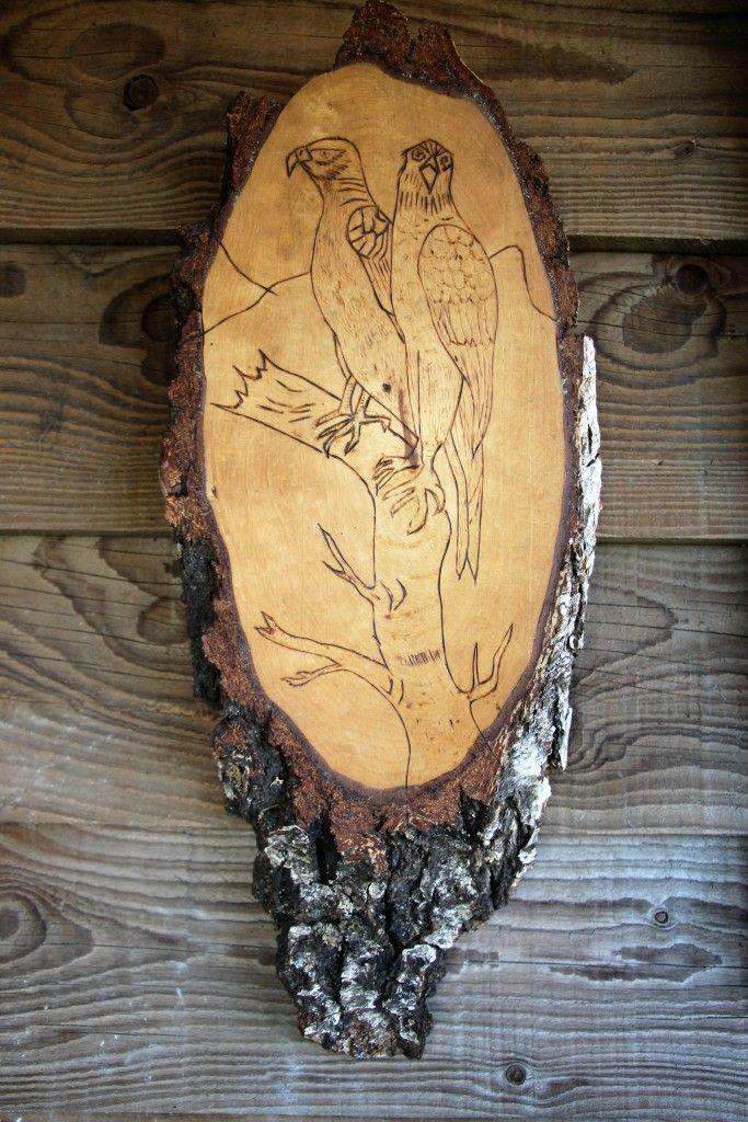 Decoratie berken houten boomschijf Adelaars
