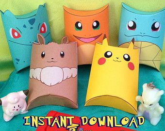 Pokemon Inspired Pillow Boxes - Instant Download - Printable - Gift Box Party Favor Pikachu Eevee Charmander Squirtle Bulbasaur Kawaii Cute