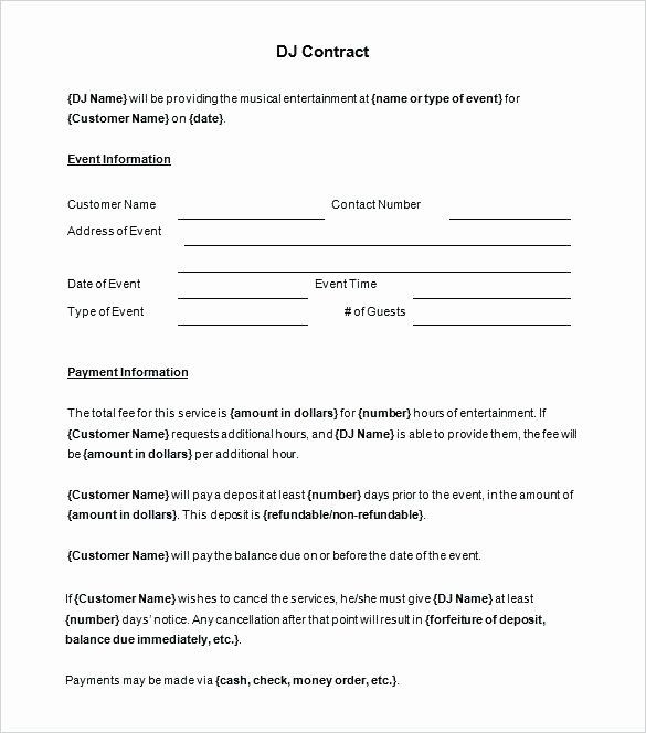 Disc Jockey Contracts Template Awesome Disc Jockey Contracts Template Inspirational Free Contract Contract Template Invoice Template Proposal Templates