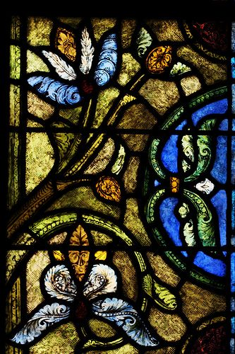 Medieval Stained glass detail ca. 1210-45 from Cathedral Basilica of St Denis, Troyes, Champagne-Ardenne - France