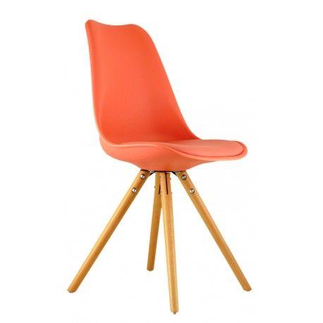 Oferta: Silla de Comedor en color Coral, inspirada en la famosa silla Eames. Dale a tu casa un toque de diseño nórdico|IconsCorner, tu tienda de muebles online